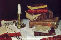 Still life with books and candle