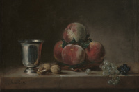 Жан Батист Симеон Шарден. Натюрморт с персиками, серебряным кубком, виноградом и грецкими орехами