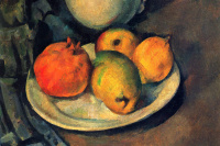 Still life with pomegranate and pears