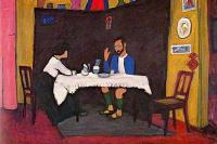 Кандинский и Эрма Босси за столом в Мурнау