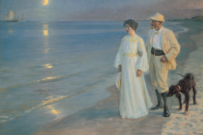 Summer evening on Skagen beach. The artist and his wife