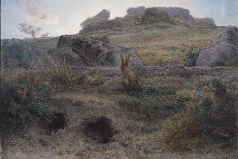 Jean-François Millet. Dawn and rabbit holes