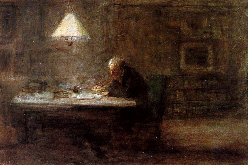 Joseph Israel. Writing man at the table