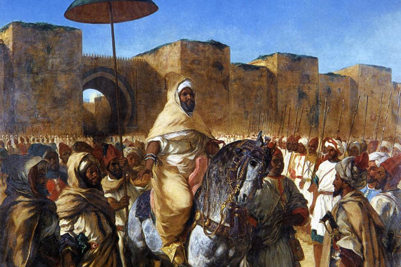 Eugene Delacroix. The Sultan of Morocco, Muley Abd-El-Rahman and his entourage