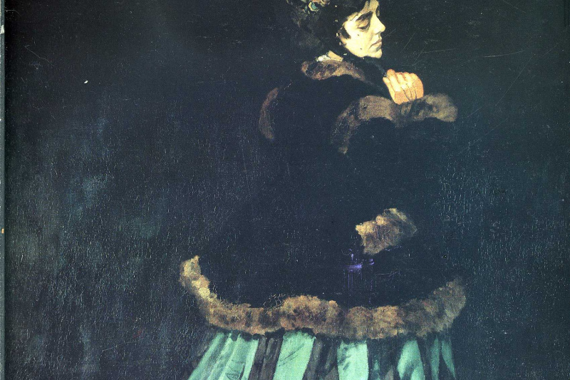 Claude Monet. Camille or the portrait of a lady in a green dress