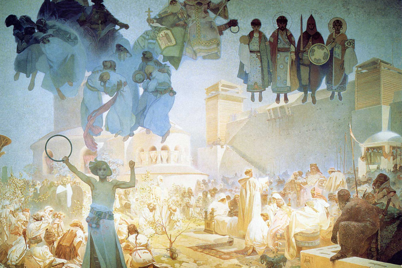 "Alfons Mucha. The introduction of the Slavic Liturgy. From the series ""the Slav epic"""