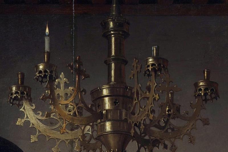 Jan van Eyck. Arnolfini Portrait (detail)