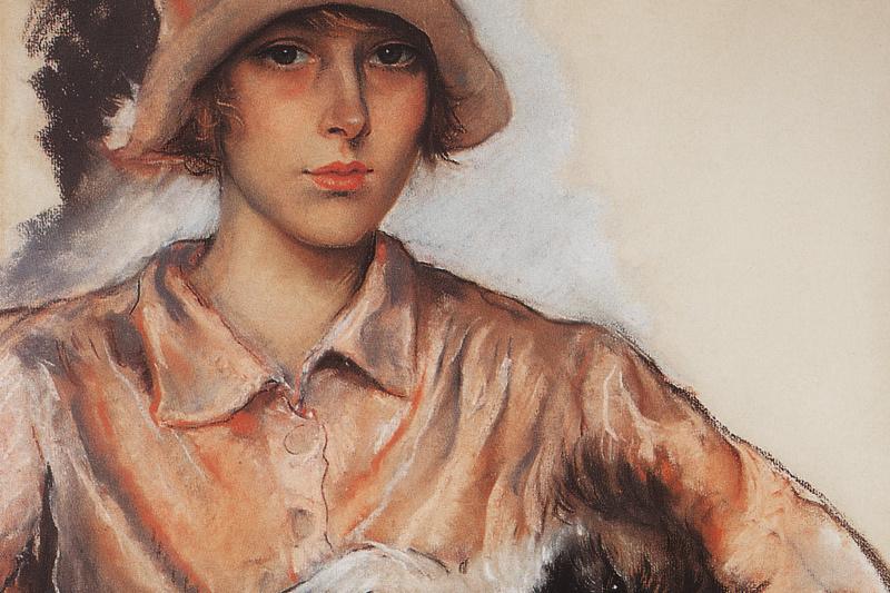 Zinaida Serebryakova. Portrait of a lady with a dog. I. Velan