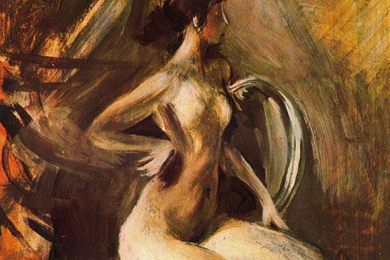 Giovanni Boldini. Nude on a chair