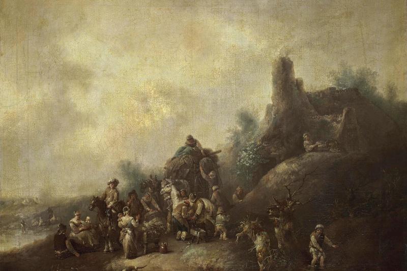 Christian Wilhelm Ernst Dietrich (Dietrich). Landscape with a caravan