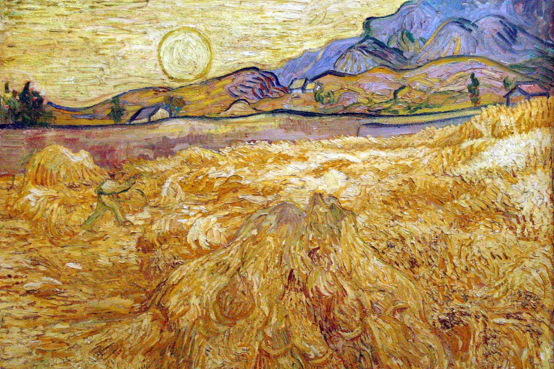Vincent van Gogh. Wheat field with Reaper and sun
