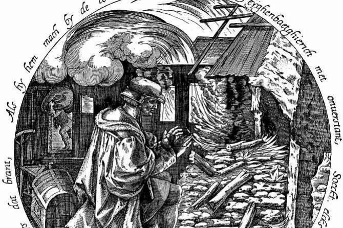 Pieter Bruegel The Elder. Only selfish is heated from the burning house. Tondo