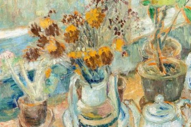 Mikhail Larionov. Still life with flowers and dishes