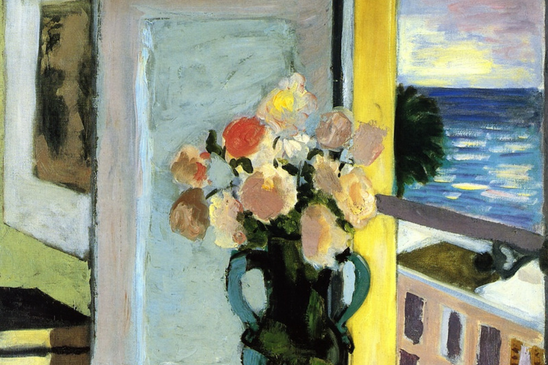 Henri Matisse. Spray roses in front of the window