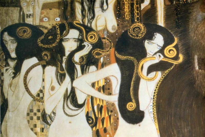 Gustav Klimt. Beethoven Frieze. Three Gorgons: sickness, madness and death (fragment)