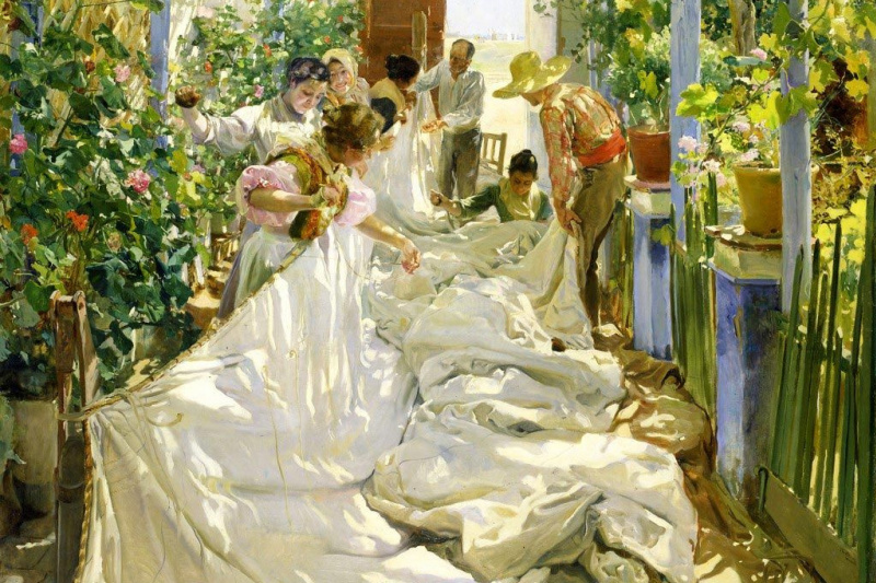 Joaquin Sorolla (Soroya). Sewing the Sail