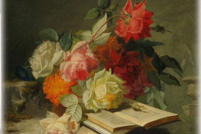Jean-Baptiste Robey. Still life with flowers and a book