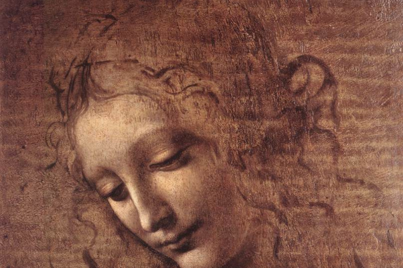 Leonardo da Vinci. Head of a young woman with disheveled hair