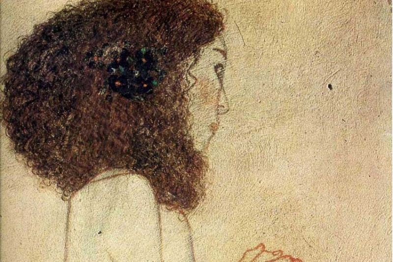 Gustav Klimt. Beethoven Frieze, Weakness (Begging girl). Fragment