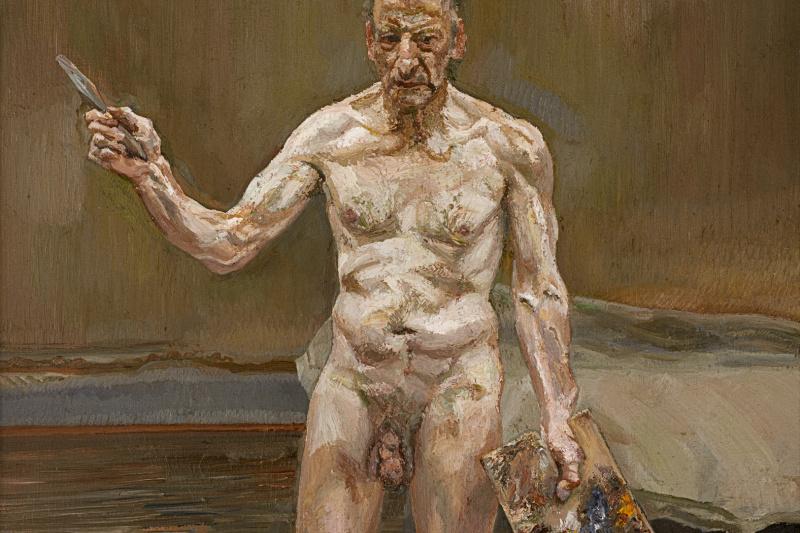 Lucien Freud. Artist at work, reflection