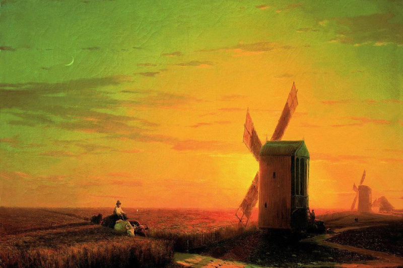 Ivan Constantinovich Aivazovski. Windmills in the Ukrainian steppe at sunset