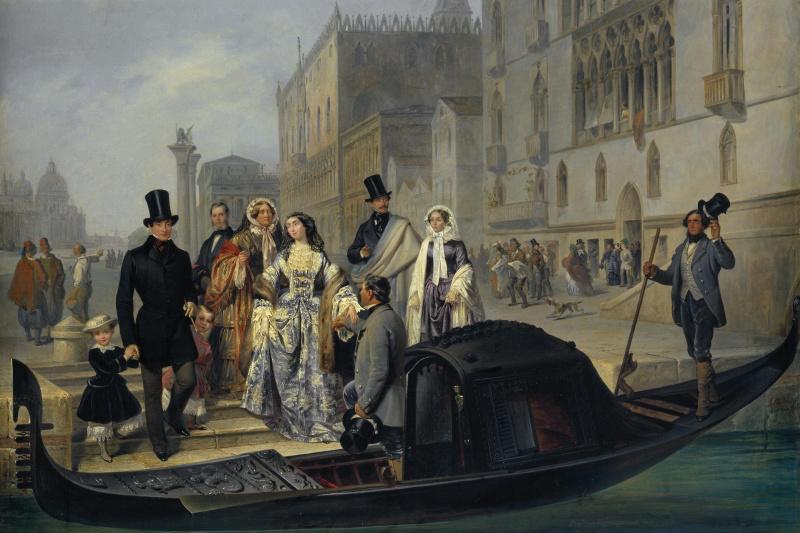 Giulio Carlini. Tolstoy family in Venice