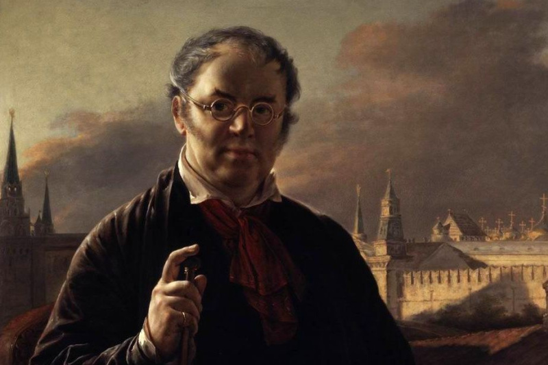 Vasily Andreevich Tropinin. Self-portrait on the background of the window, overlooking the Kremlin