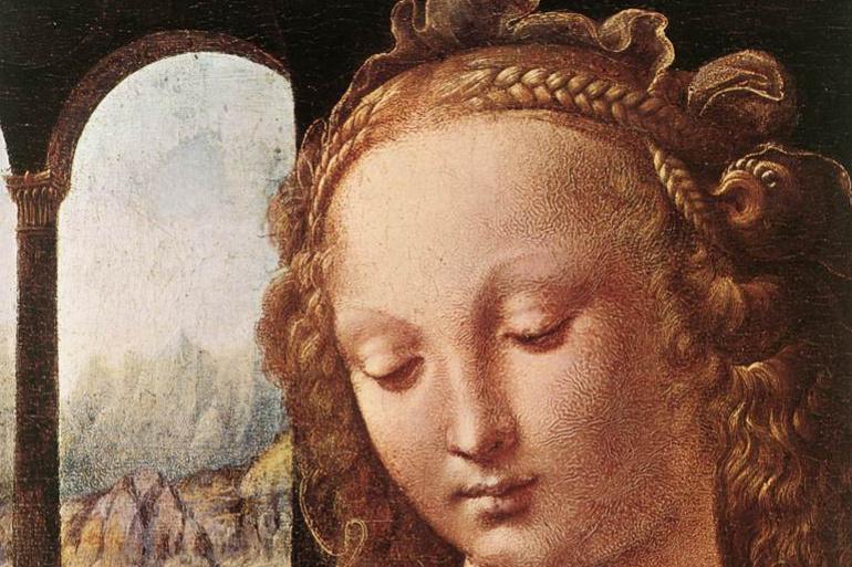 Leonardo da Vinci. The Madonna of the carnation (detail)