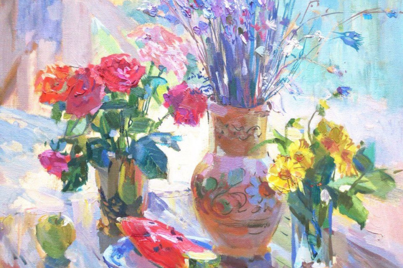 """Victoria Korkishko. """"Still life with roses and watermelon"""""""