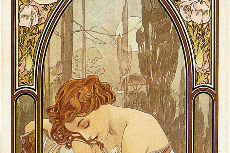 Alphonse Mucha. Night's rest. Series times of the day
