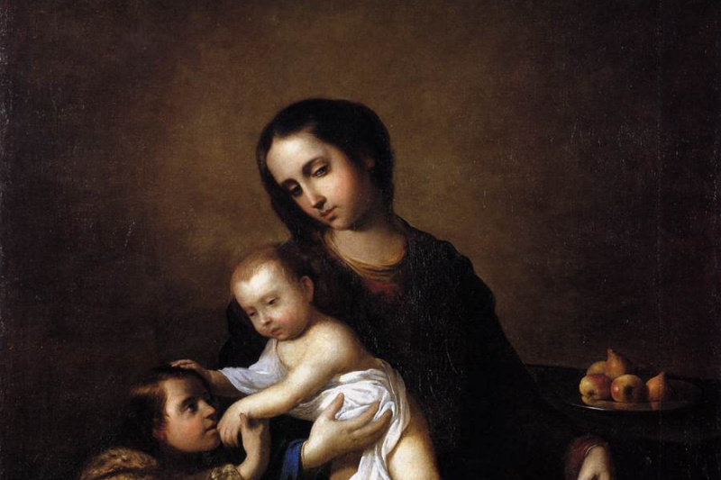 Francisco de Zurbaran. Madonna with the infant Christ and St John the Baptist