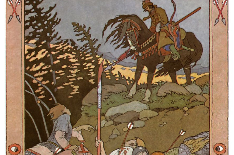 "Ivan Yakovlevich Bilibin. Ivan Tsarevich and ""army - the power is beaten."" Illustration for the fairy tale ""Marya Morevna"""