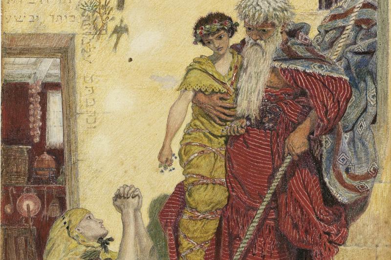 Форд Мэдокс Браун. Илия и сын вдовы (акварель)