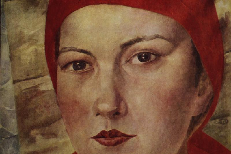 Kuzma Sergeevich Petrov-Vodkin. Girl in red scarf (Worker)