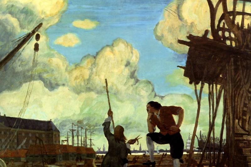 Mstislav Valerianovich Dobuzhinsky. Peter the Great in Holland. Amsterdam shipyards of the East India Company. Sketch