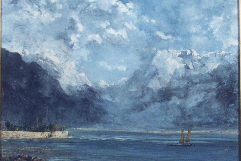 Gustave Courbet. View of lake Geneva