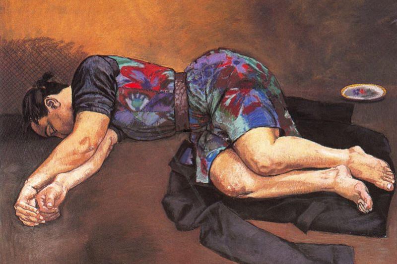 Паула Рего. Спящая женщина и черный пиджак
