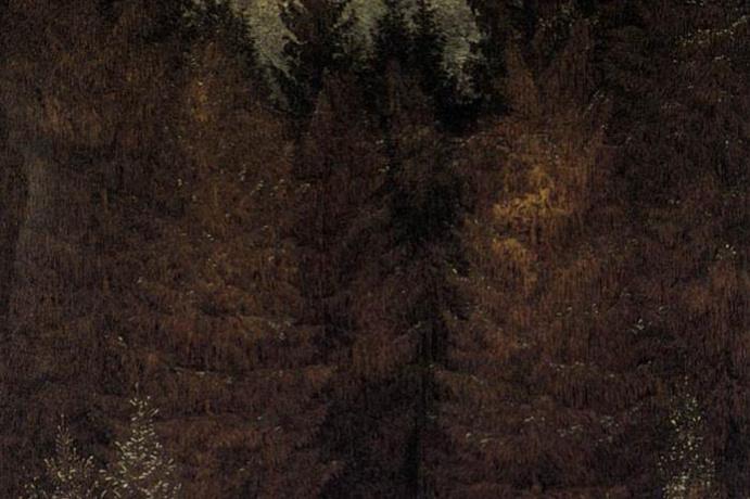 Caspar David Friedrich. Cuirassier in the forest