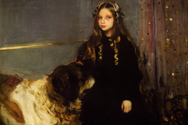 Alexander Murashko. A girl with a dog. The Portrait Of T. Yazev