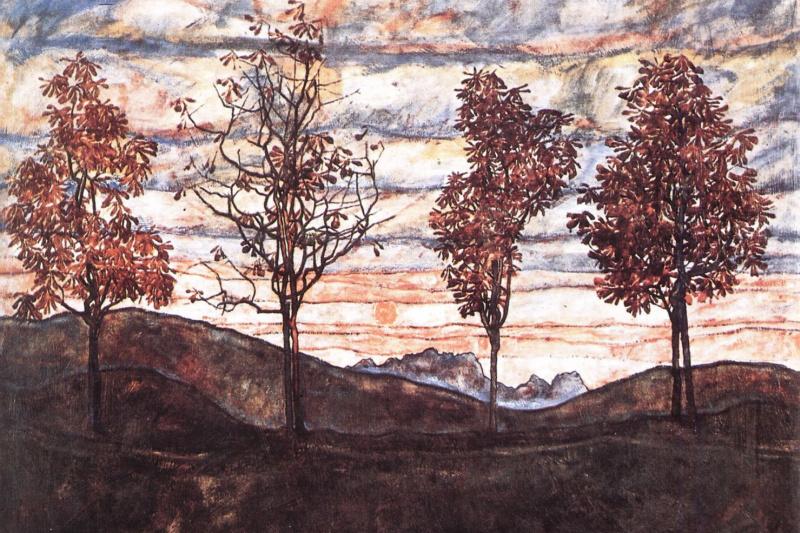Egon Schiele. Four trees