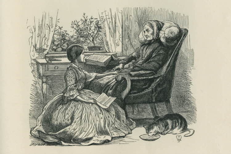 """John Everett Millais. Reading. A collection of illustrations for the magazine """"Once a week"""""""