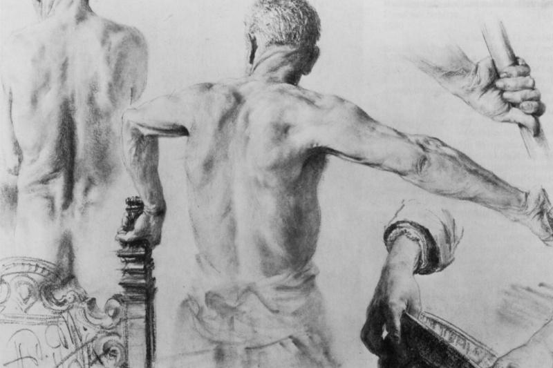 Adolf Friedrich Erdmann von Menzel. Sheet of sketches: Nude from the back and sketch hands