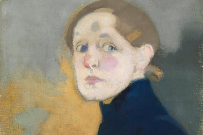 Helena Sophia Scherfbek. Self portrait in blue