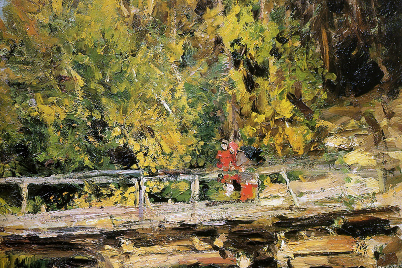 Konstantin Korovin. Autumn. On the bridge. Fragment