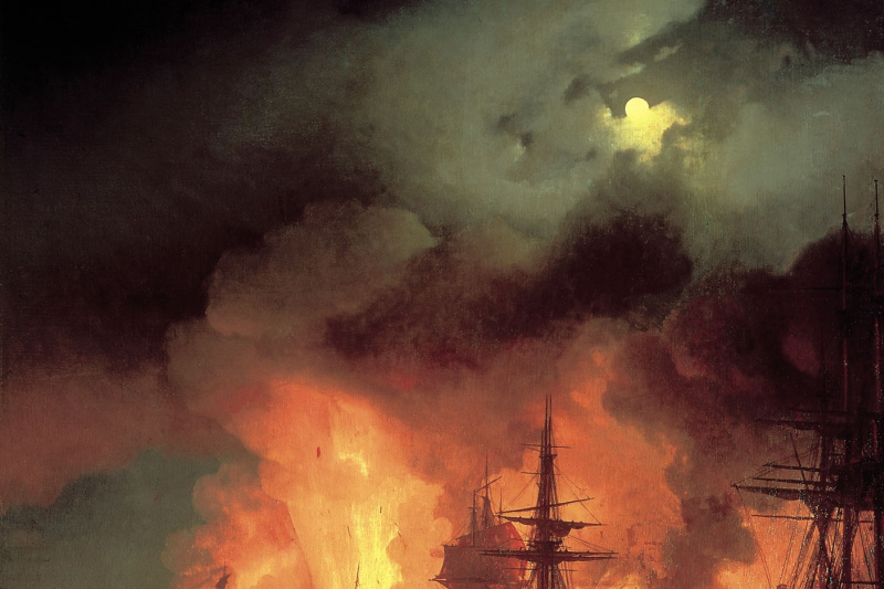 Ivan Constantinovich Aivazovski. Chesme battle in the night from 25 to 26 June 1770
