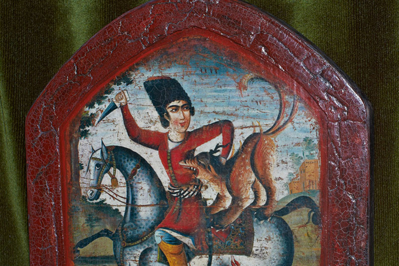 Unknown artist. Hunter on Horseback Attacked by a Mythical Beast