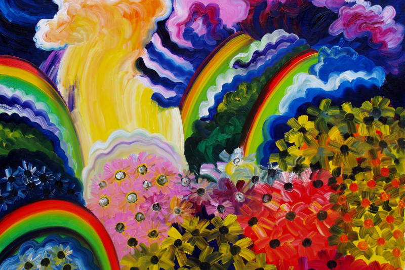 Kandinsky-DAE. Rainbows at the waterfall. Flower glades. (Waterfall Zhigalan.