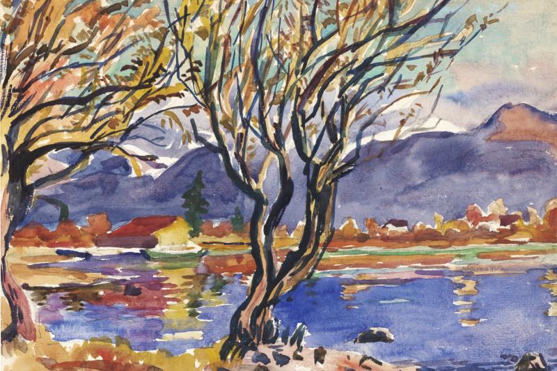 Giovanni Giacometti. The landscape of lake Como, Italy