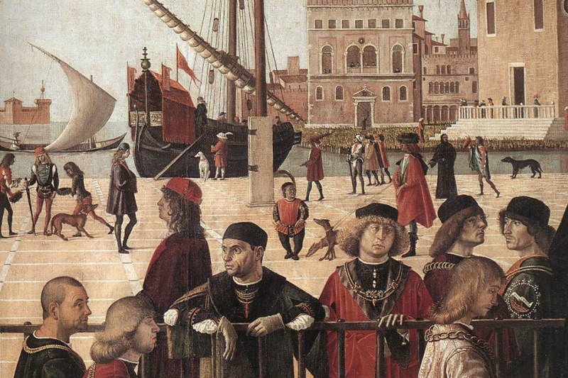 Vittore Carpaccio. The arrival of the English ambassadors, fragment