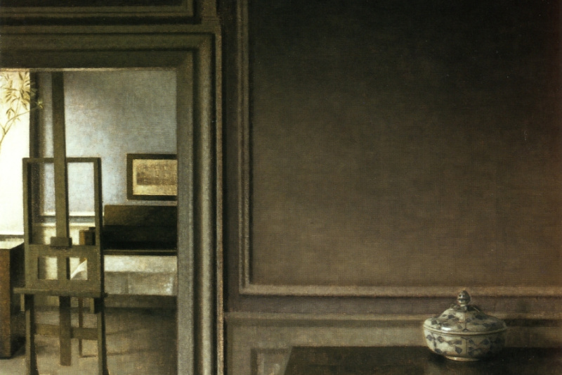 Vilhelm Hammershøi. Interior with easel and punch bowl